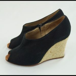 Christian Louboutin Black Canvas Wedge Size 35 5